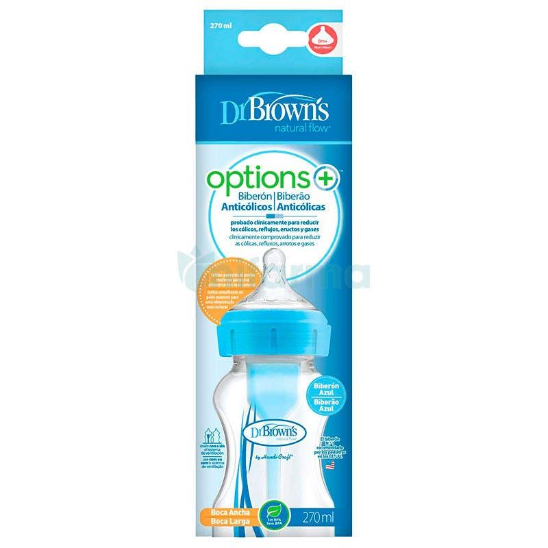 Biberon Boca Ancha Options Dr. Browns 270ml 0m Azul
