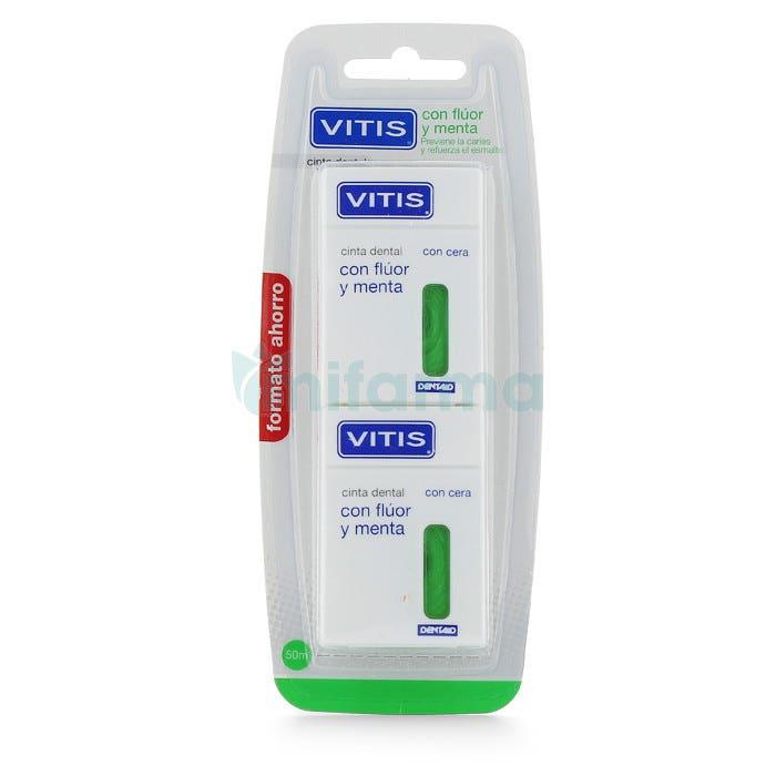 Vitis Pack Cinta dental Con Fluor y Menta 2 x 50 m