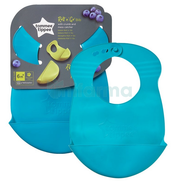 Tommee Tippee Bavoir Silicone Explora Roll & Go Bleu Turquoise