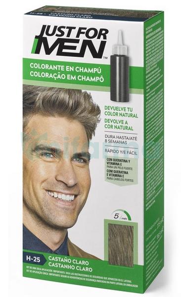 Just For Men Champu para Hombre Tinte para Hombre Colorante en Champu Castano Claro