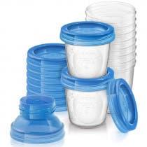 Avent 10 Recipientes Reutilizables de Almacenamiento Para Leche Materna de 180ml
