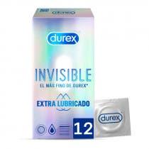 Durex Preservativo Invisible Extrafino Extralubricado 12 Uds