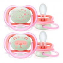 Chupete Ultra Air Night Avent 6-18m Rosa 2Uds