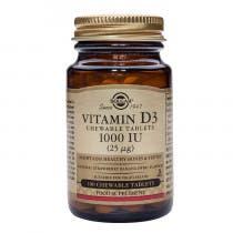 Solgar vitamina D3 1000 UI  Colecalciferol  100 comprimidos masticables