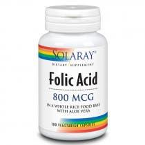 Acido Folico 800mcg Solaray 100 Capsulas Vegetales