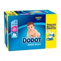 Pack Ahorro Dodot Panal Bebe Seco T4 124UdsToallitas 2x64Uds REGALO